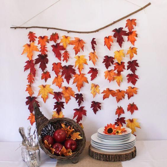 DIY Rustic Autumn Leaf Backdrop autumn fall decorations thanksgiving crafts phot...