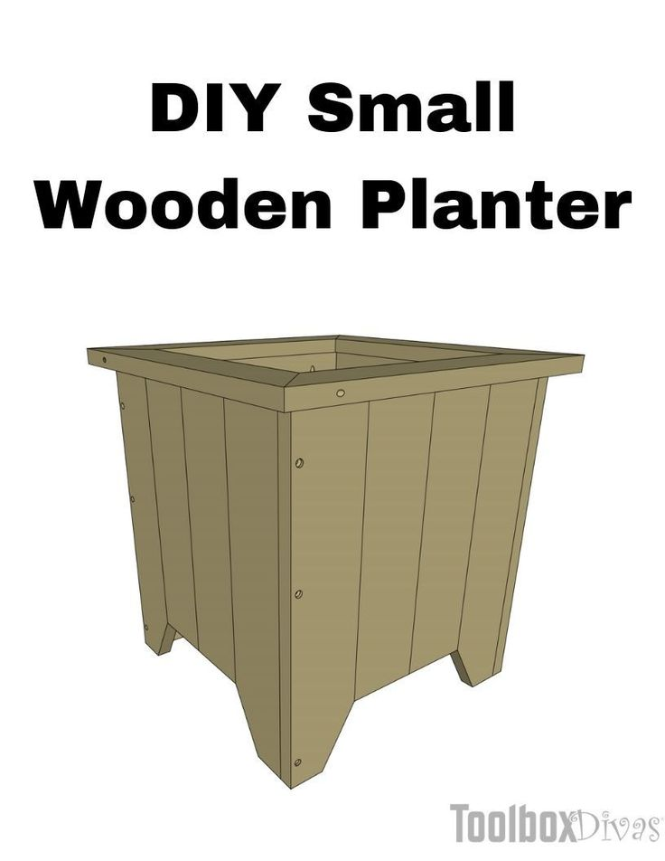 DIY Small Wooden Planter Box Painted square cedar planter @ToolBoxDivas Free woo...