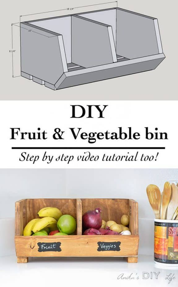 DIY Vegetable Storage Bin with Dividers - holz - #Bin #Dividers #DIY #Holz #Stor...