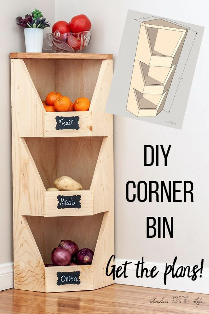DIY corner vegetable storage place plans #diyprojects #food storage place #plane