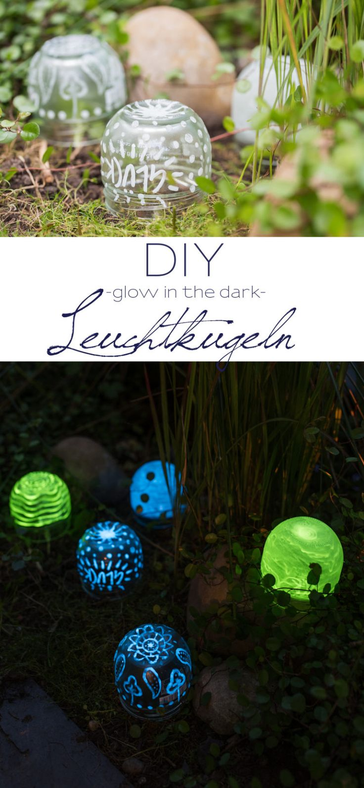DIY upcycling glow in the dark flares of jam jars as decoration for ...