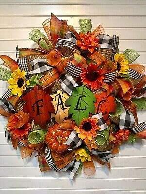 Deco Mesh Fall Wreath Black White Buffalo Plaid Pumpkin Sunflowers Leaves Colors...