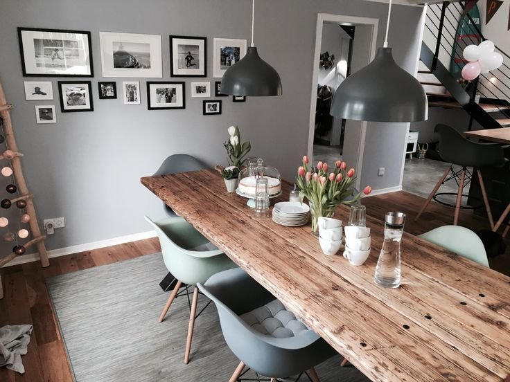 Dining room with solid timber table of timber love in industrial design solid wood