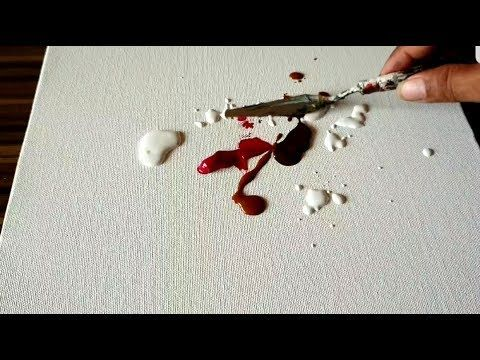 Easy Abstract Painting on Canvas in Acrylics / Demonstration / Project 365 days ...