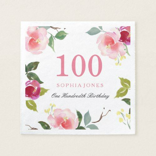 Elegant Pretty Pink Floral 100th Birthday Party Paper Napkin