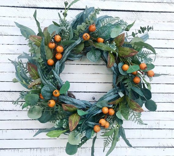 Fall Eucalyptus Wreath With Orange Berries, Fall Greenery Wreath, Mixed Eucalypt...