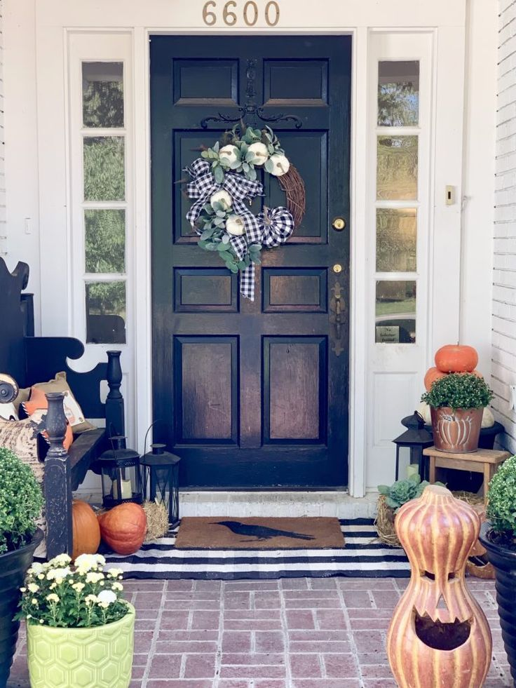 Fall Porch with Touches of Halloween, front porch decor, fall porch decor, pumpk...