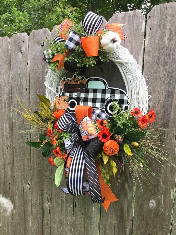 Fall Truck Wreath for Front Door Buffalo Plaid Fall Truck | Etsy