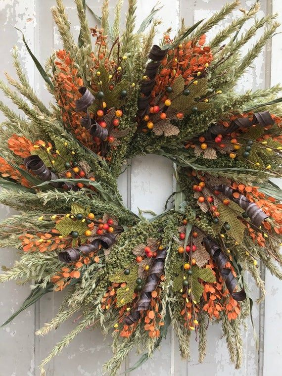 Fall Wreath For Front Door, Fall Wreath, Corn Tassel Wreath, Fall Berry Wreath, ...