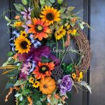 Fall Wreath-Pumpkin Wreath, Hydrangea Wreath, Front Door Wreath, Sunflower Wreat...
