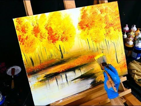 Fall season landscape painting – yellow, red, orange autumn leaves, trees and ...