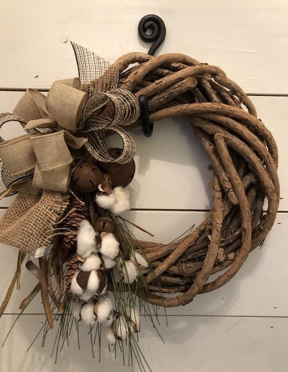 Fall wreath cotton wreath Autumn wreath farmhouse wreath | Etsy