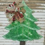 Faux Pallet Distressed/Flocked Christmas Tree Door Hanger by Southern Pickens