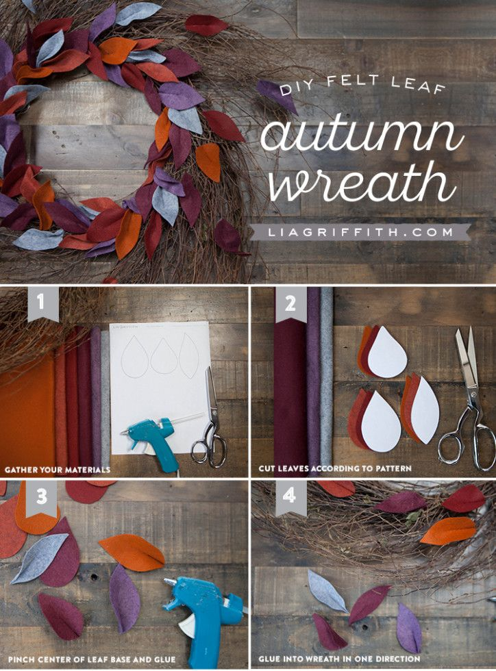 Felt Leaf Wreath for Fall. Downloadable leaf template with monthly membership fe...