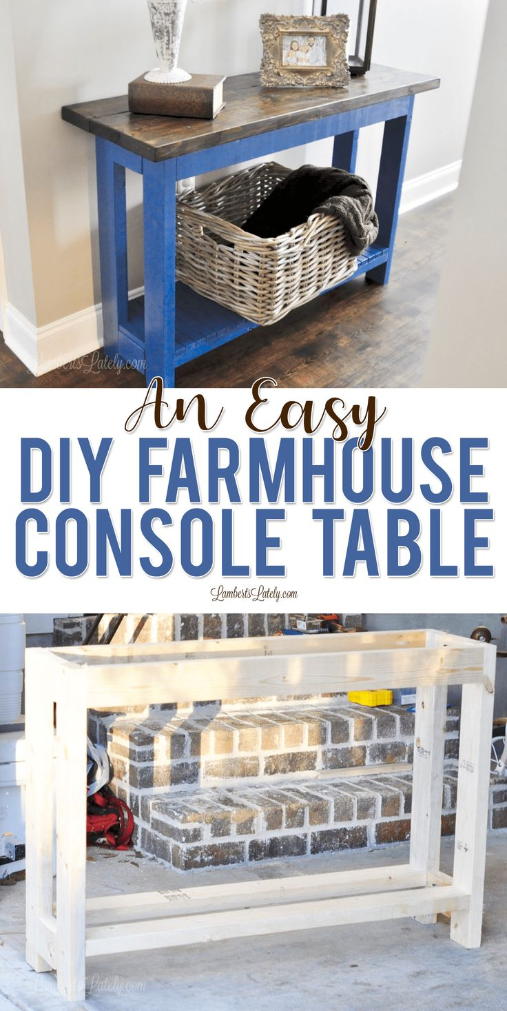 Find easy plans for a DIY farmhouse console table in this post, complete with wa...