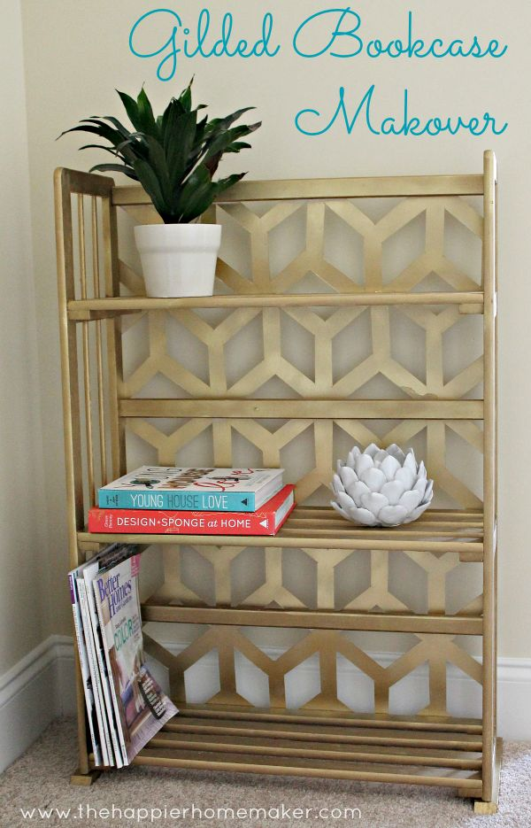 Gilded Bookcase Makeover-Wayfair and Hometalk DIY Challenge