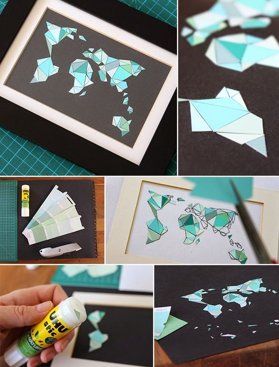 Gingered Things - DIY, Deco & Home Design: Mosaic world map made of color cards