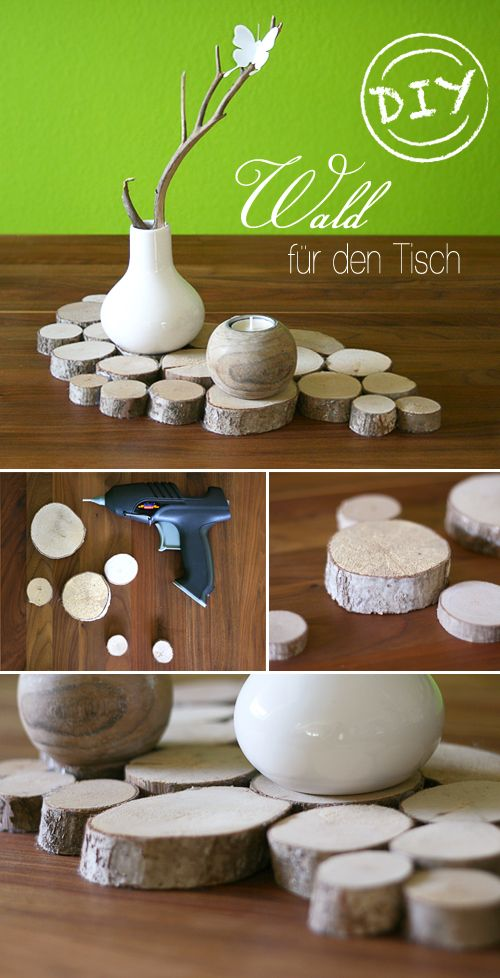 Gingered Things - DIY, deco & home design: Table decoration made of tree discs