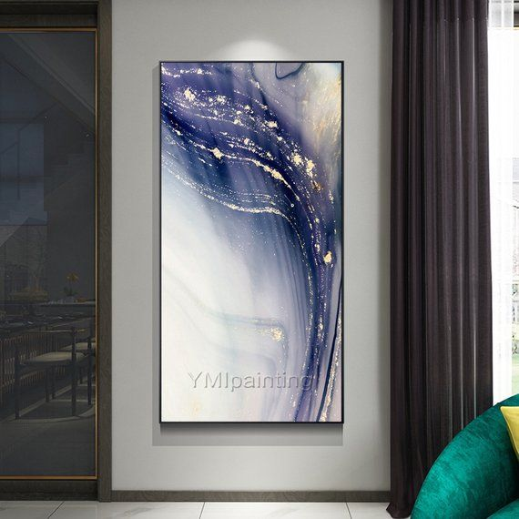 Gold Abstract paintings on Canvas art Original Painting acrylic purple white hea...