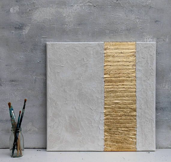Gold leaf, white, Abstract painting, office decor, mixed media, gold leaf, wall ...