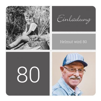 Great invitation card for the 80th Birthday with old children's photo and current photo ...