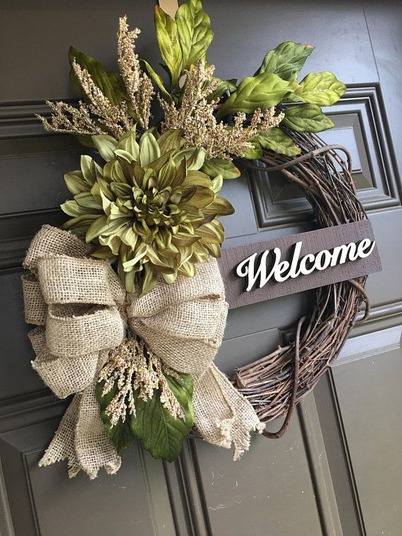 Green dahlia wreath for front door - accent wreath with burlap bow - welcome wre...