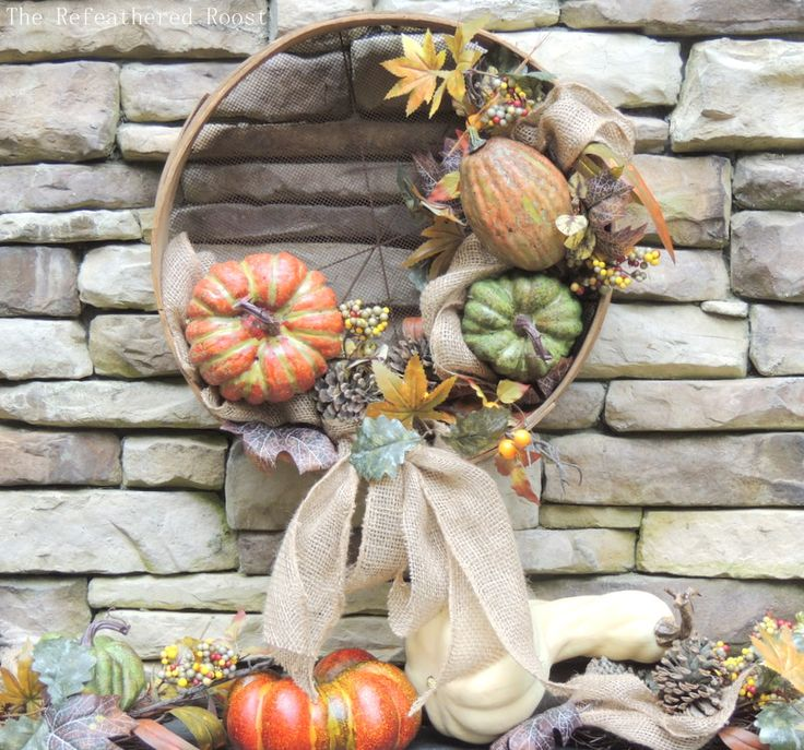 Harvest wreath DIY for fall. Craft this beautiful DIY fall wreath for your front...