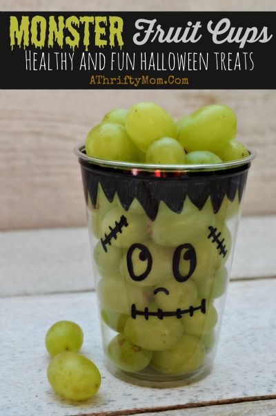 Healthy Halloween treat ideas, Monster Fruit Cups, school party ideas, Healthy b...