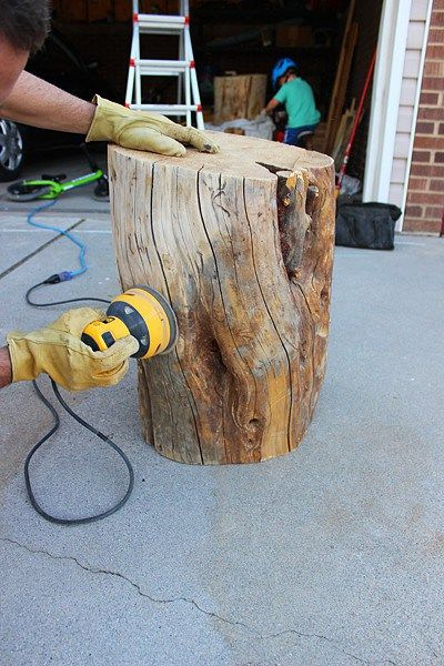 How to DIY a coffee table from a tree stump for any room in your house. #DIY #ta...