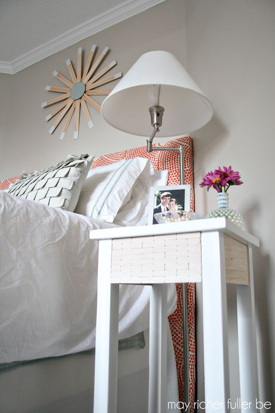 I gave my dark wood bedside table a makeover with white paint and a handmade woo...