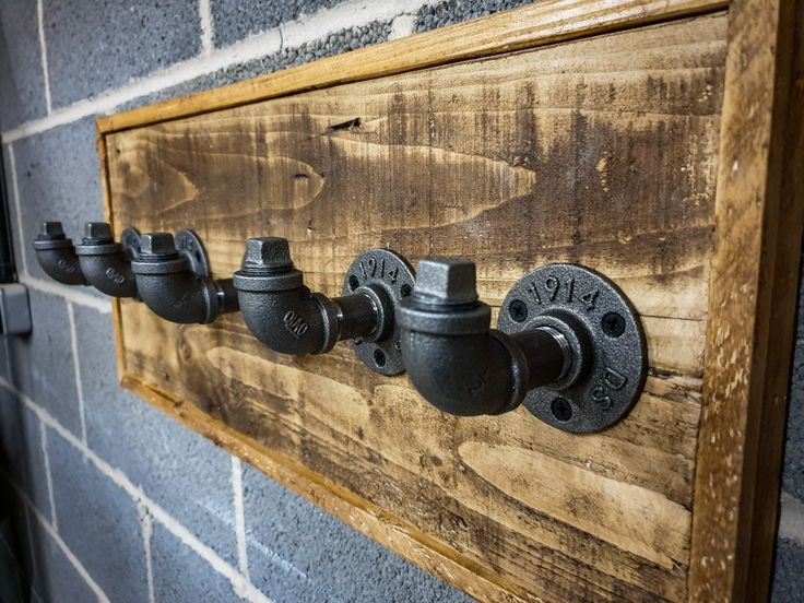 Iron pipe and pallet timber coat hooks