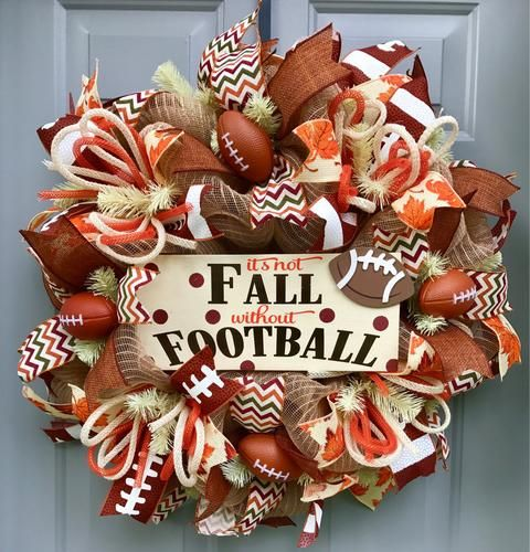 It's Not Fall Without Football Deco Mesh Wreath