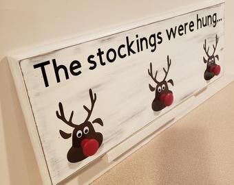 Items similar to Engraved stocking hanger- The stockings were hung by the chimne...