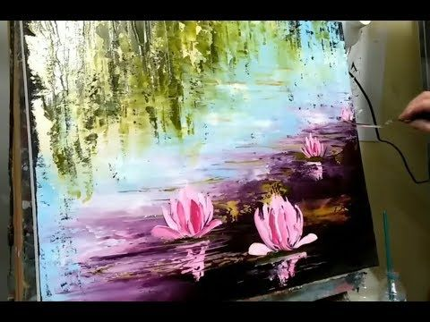 KNIFE PAINTING - WATER LILY by NELLY LESTRADE (english subtitles) - YouTube