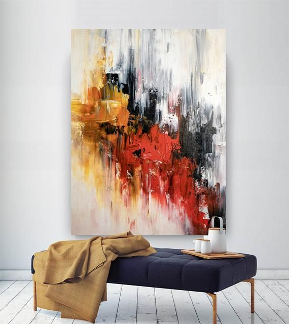 Large Abstract Painting,Modern abstract painting,bright painting art,painting on...