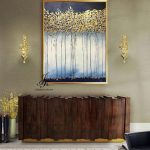 Large Abstract Trees Oil Painting Gold Leaf Art Gold Painting