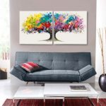 Magic Tree (Set of 2) Picture Set - Acrylic on Canvas - Multi Colored