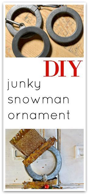 Make a junky snowman ornament with leftover shower rings! Homeroad.net #Christma...