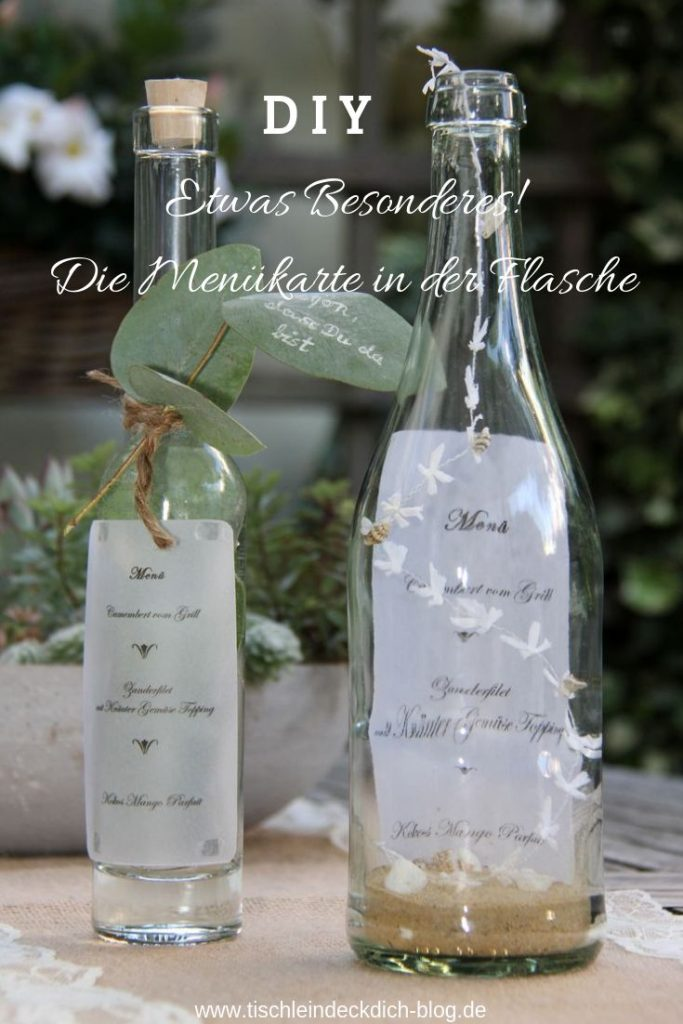 Menu card in the bottle, this DIY will definitely appeal to your guests! ...