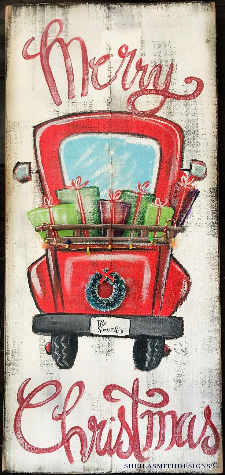 Merry Christmas Red Truck sign Merry Christmas sign Red image 1