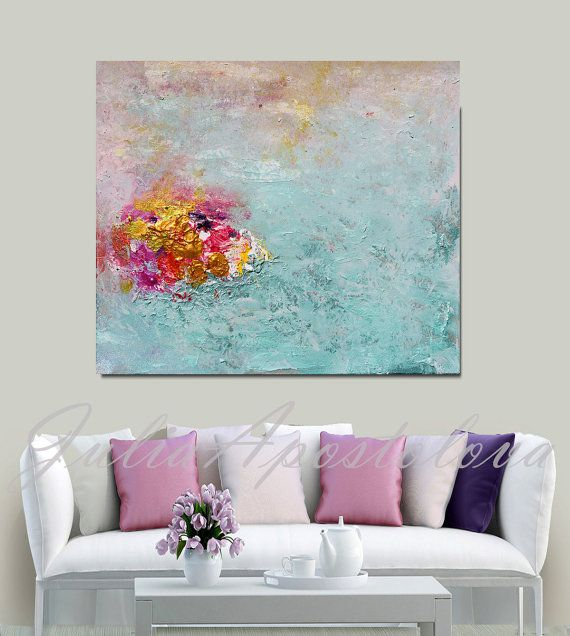 Minimalist Painting, Turquoise and Pink, Gold Abstract, Print, Turquoise Paintin...