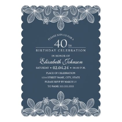Navy Blue 40th Birthday Party Unique Creative Lace Card - rustic gifts ideas cus...