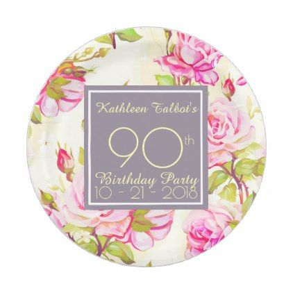 Old Roses 90th Birthday Party Paper Plate - rustic gifts ideas customize persona...