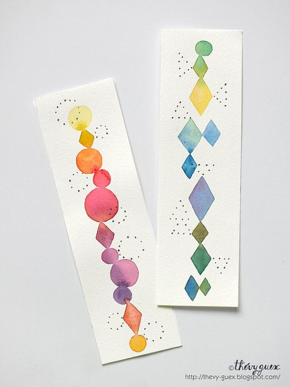 Original Aquarell abstrakte geometrische Dot illustriert Rainbow Bookmarks - Rho...