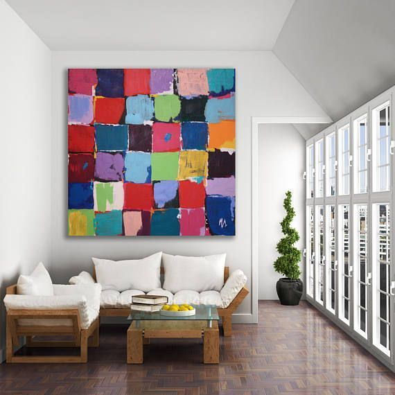 Original Color Block Abstract Painting / Colorful Color Block Painting / Modern Painting ...
