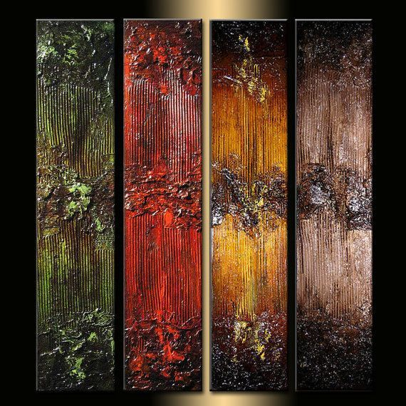 Original Textured Abstract painting Contemporary Multipanel Fine Art by Henry Pa...