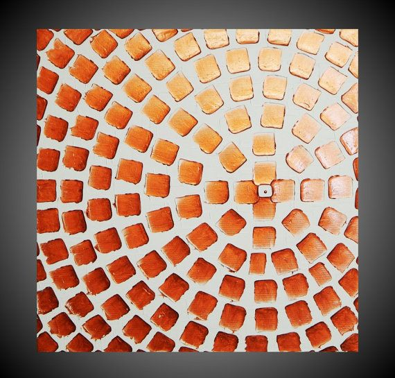 Painting Abstract Art Wall Art on large Canvas White Copper Metallic Squares 24 ...