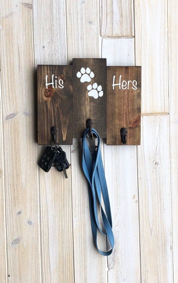 Pallet Style His Hers Dog Paw Key Leash Holder/Hanger that is a great housewarmi...