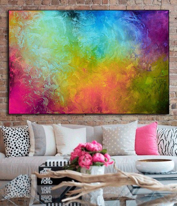 Pink and blue abstract print from original Painting, blue pink Modern Painting, ...