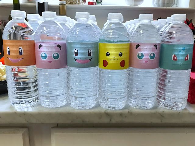 Pokémon water bottle labels for a Pokémon-themed birthday party. Click or visi...